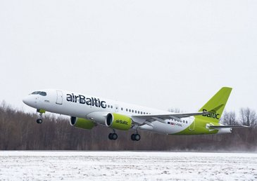 Takeoff of milestone airBaltic A220