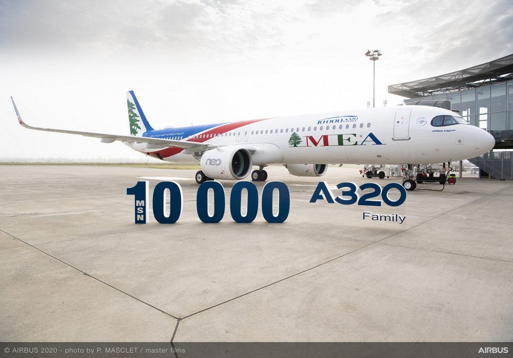 The A321neo with manufacturer serial number 10,000 was received by Middle East Airlines in Toulouse, France.