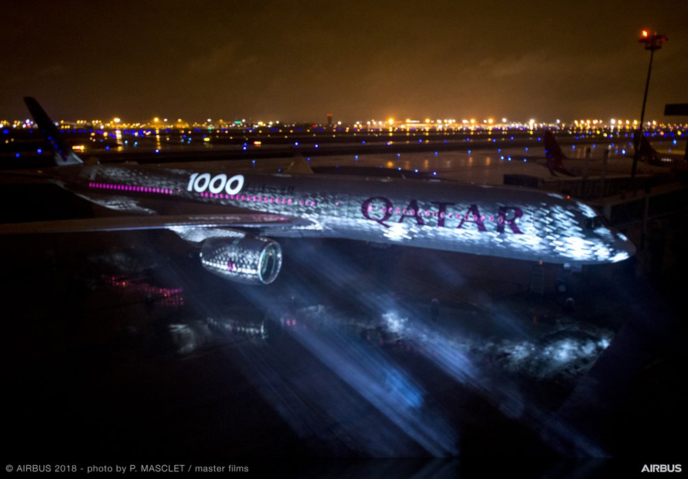 Airbus' A350-1000 is lit up in a nighttime ceremony in the Toulouse region of France celebrating the handover of the aircraft to Qatar Airways, the launch operator of the new jetliner
