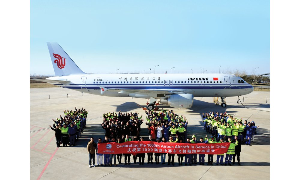 Airbus delivered its 1,000th jetliner in China with the 23 December 2013 handover of an Air China A320