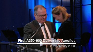 Delivery ceremony for Aeroflot's first A350-900