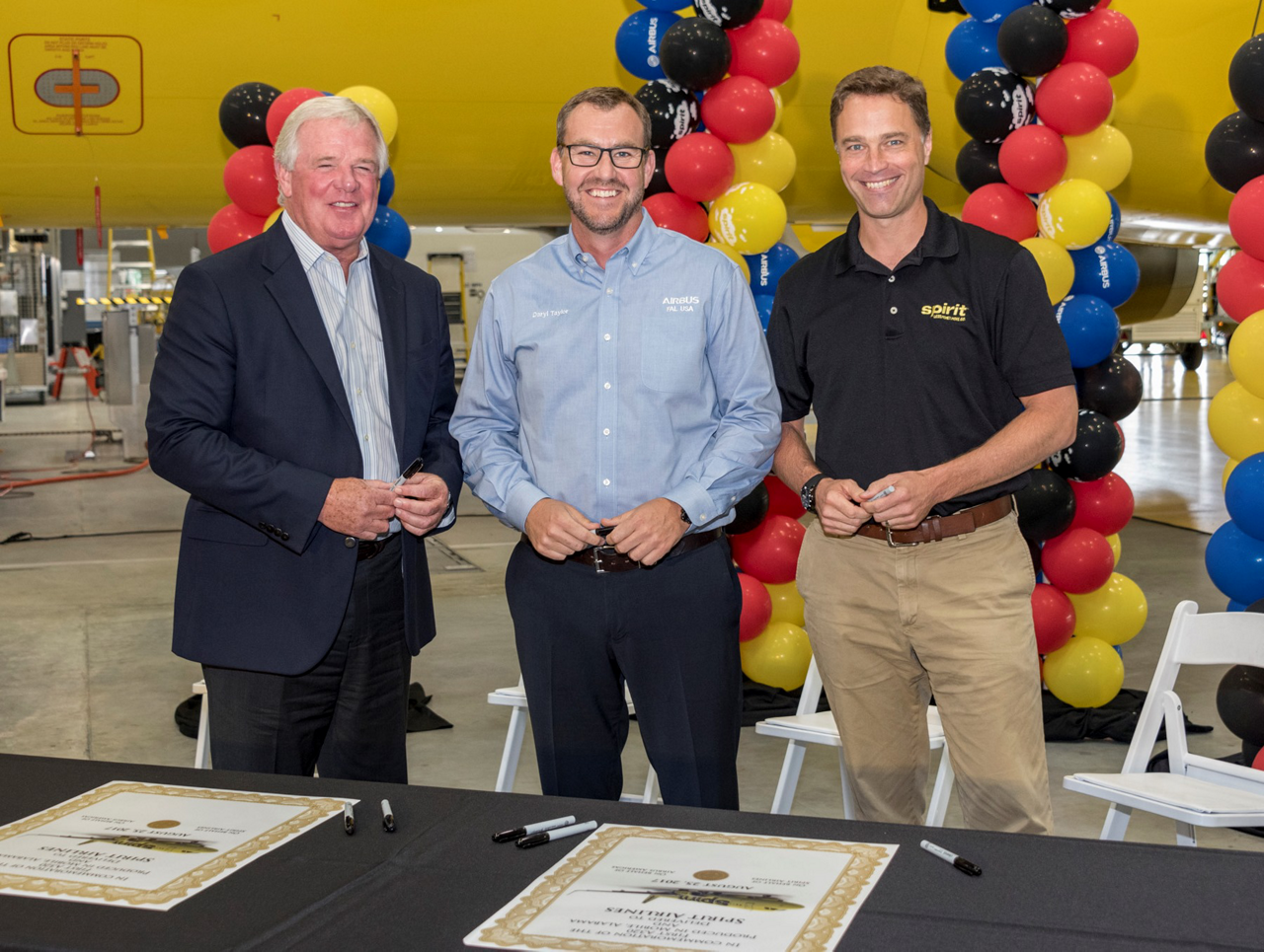 From left to right: Bob Lekites, Executive Vice President-Customers, Airbus Americas; Daryl Taylor, Vice President & General Manager Airbus U.S. Manufacturing Facility; Ted Christie, Executive Vice President & Chief Financial Officer, Spirit Airlines, at the delivery ceremony