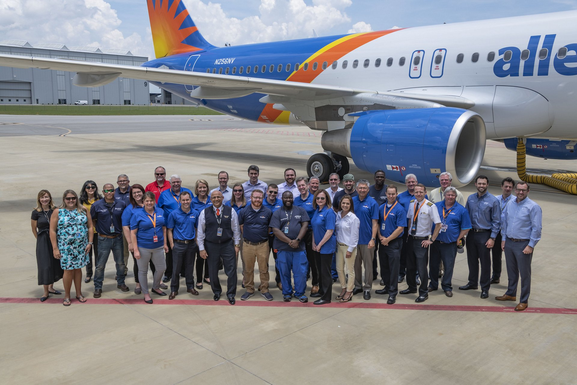 Celebrating the delivery of Airbus' first U.S.-produced A320 jetliner for Allegiant Air were executives from Airbus and Allegiant Air, along with a team of Allegiant employees and representatives of the more than 380 Airbus employees at the Airbus U.S. Manufacturing Facility in Mobile, Alabama