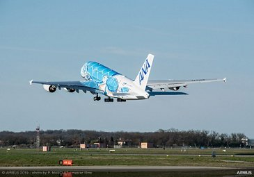 All Nippon Airways A380: delivery flight take-off from Toulouse