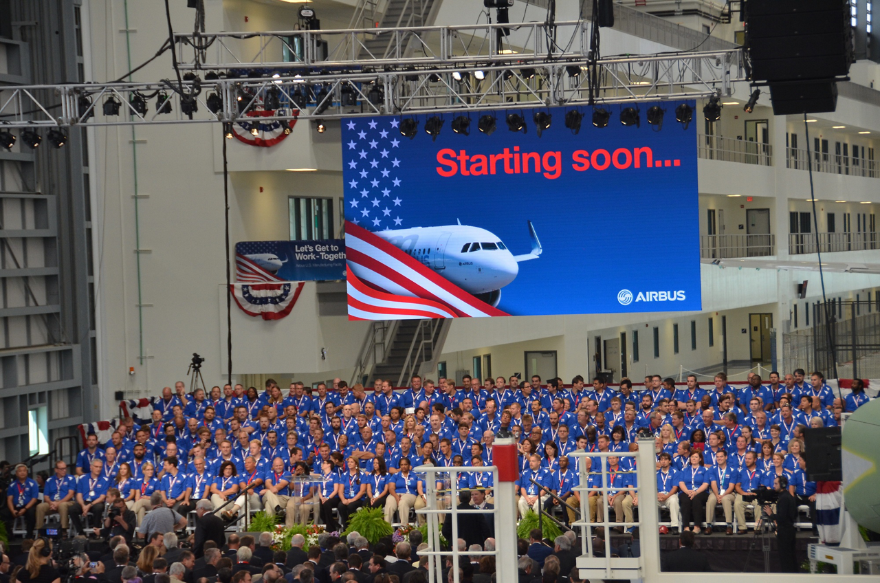 A view of the 2015 inauguration ceremony for Airbus' A320 final assembly line in Mobile, Alabama, USA.
