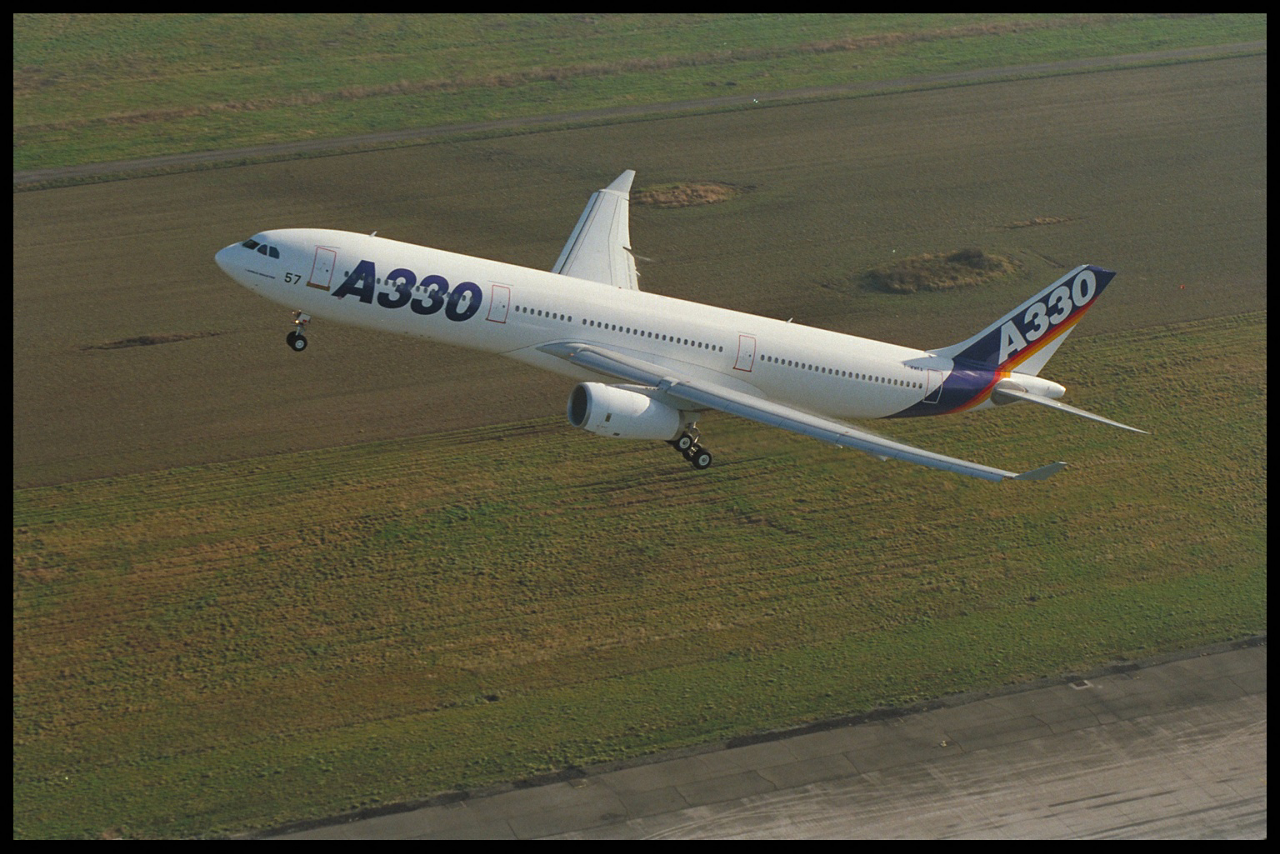 Airbus' widebody A330 takes off for its maiden flight in 1992.