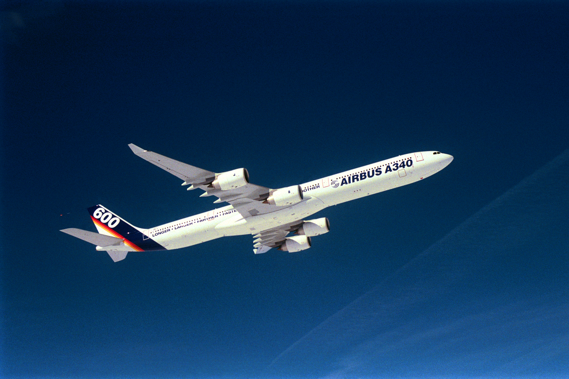 Airbus' first new large jetliner of the 21st century, the 380-seat A340-600, performs its successful 5-hour, 22-minute maiden flight in France on 23 April 2001