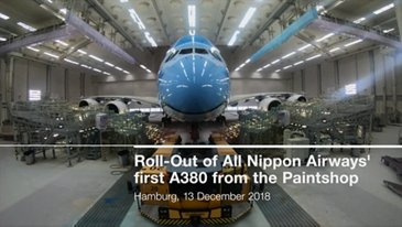 ANA first A380 roll-out of paintshop