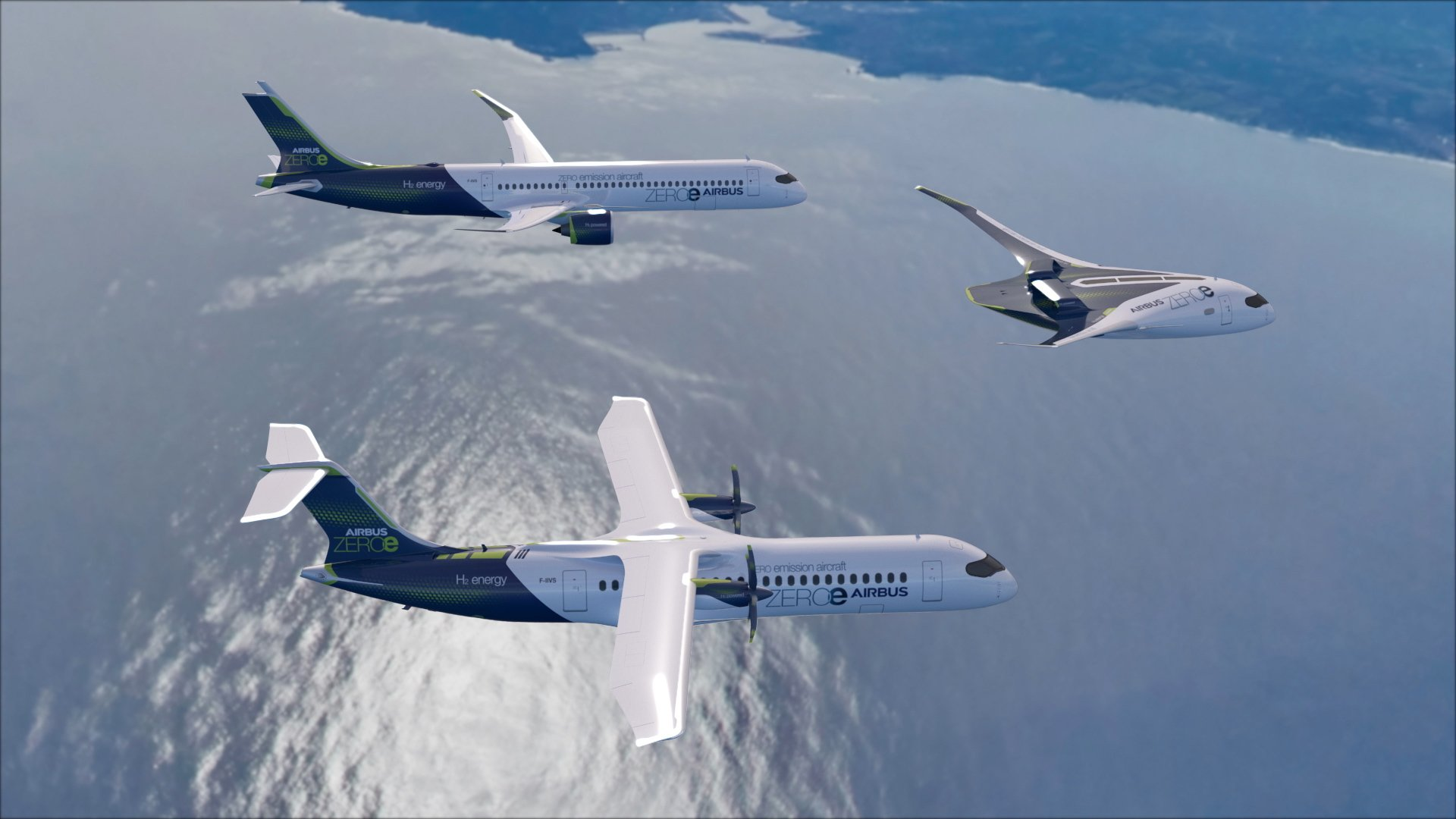 Airbus unveils the three zero-emission concept aircraft known as ZEROe. These concepts include turbofan, turboprop, and blended-wing body configurations that are powered by hydrogen propulsion. All ZEROe concepts are hydrogen-hybrid aircraft