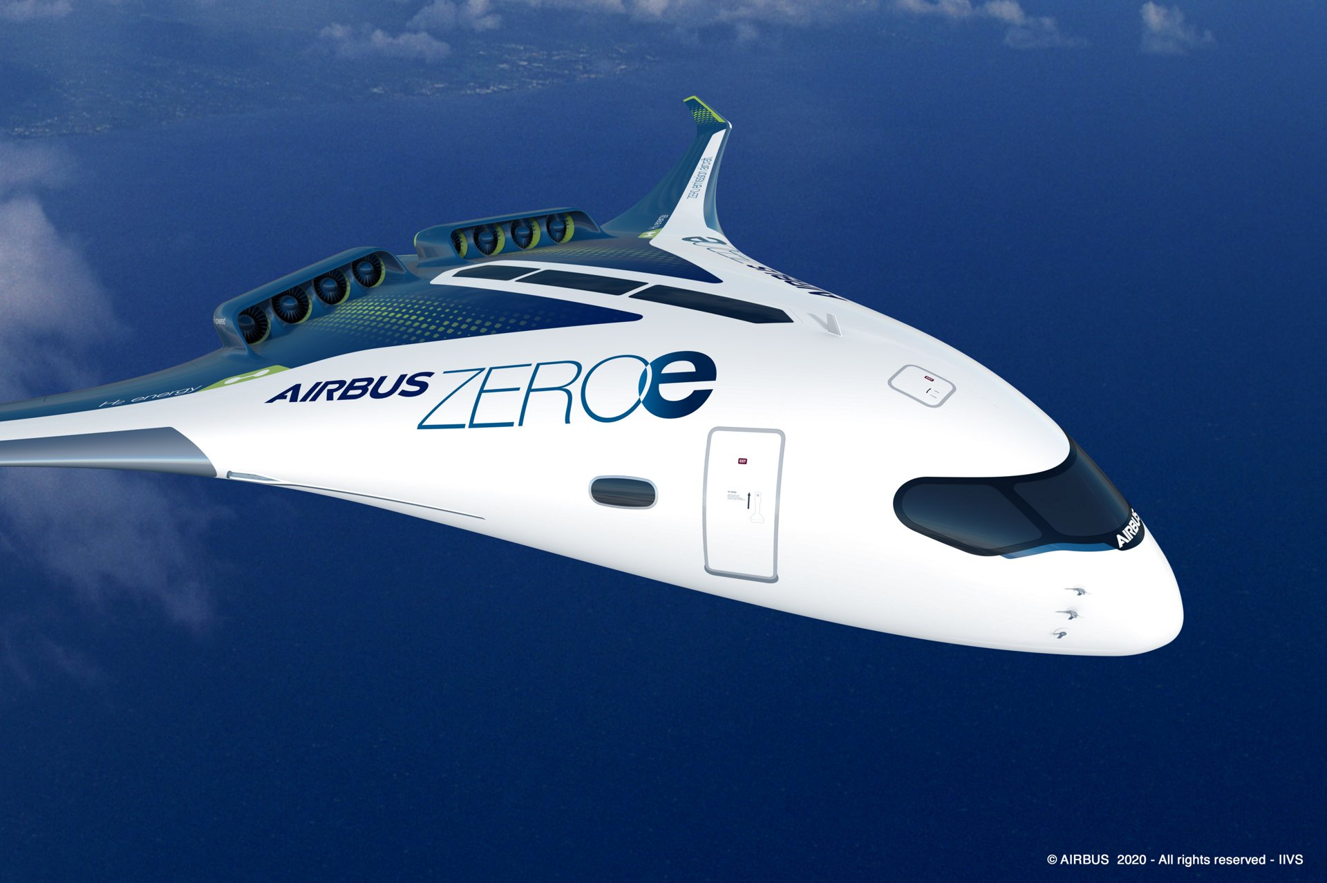 ZEROe is an Airbus concept aircraft. In the blended-wing body configuration, two hybrid hydrogen turbofan engines provide thrust. The liquid hydrogen storage tanks are stored underneath the wings.