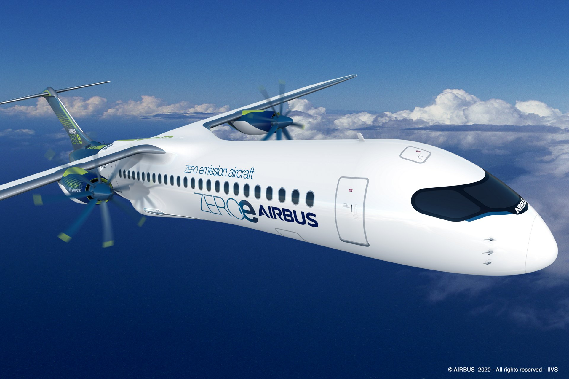 ZEROe is an Airbus concept aircraft. In the turboprop configuration, two hybrid hydrogen turboprop engines provide thrust. The liquid hydrogen storage and distribution system is located behind the rear pressure bulkhead.