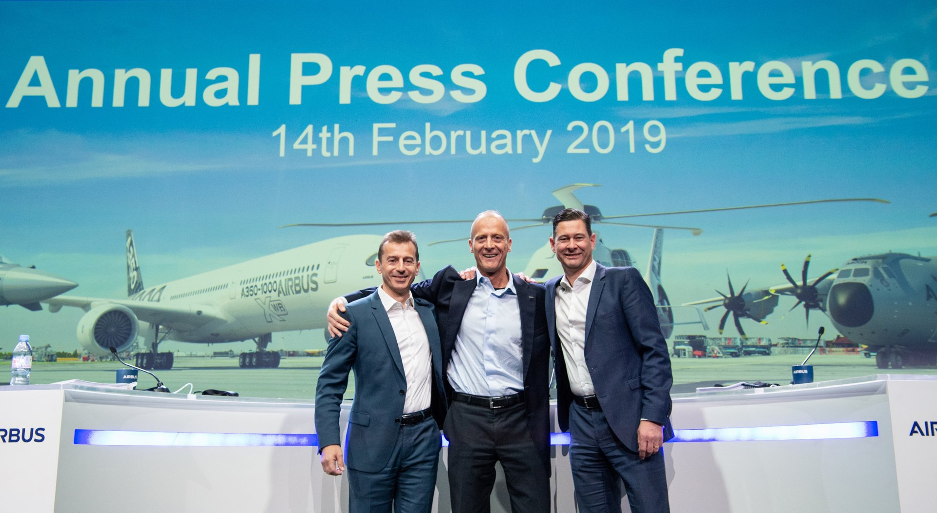From left to right :  Guillaume Faury, President Airbus Commercial Aircraft  Tom Enders, Chief Executive Officer of Airbus  Harald Wilhelm, Chief Financial Officer, Airbus