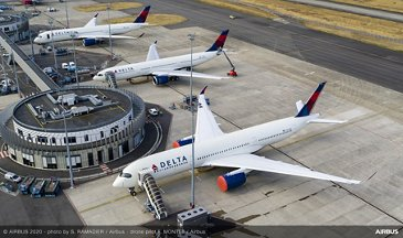 A330-900 And A350-900 Delta Aerial View
