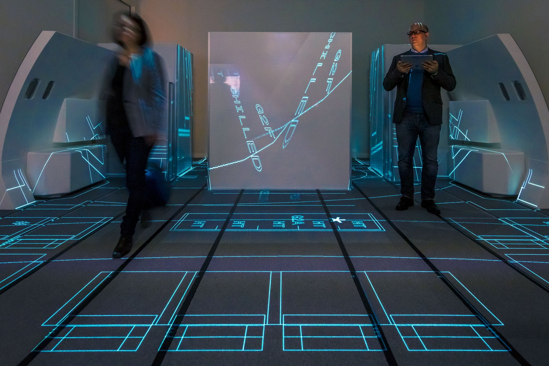 A key addition to Airbus' Airspace Customer Definition Centre (CDC) is its new floor projection system that displays the full-scale real cabin layout on the floor