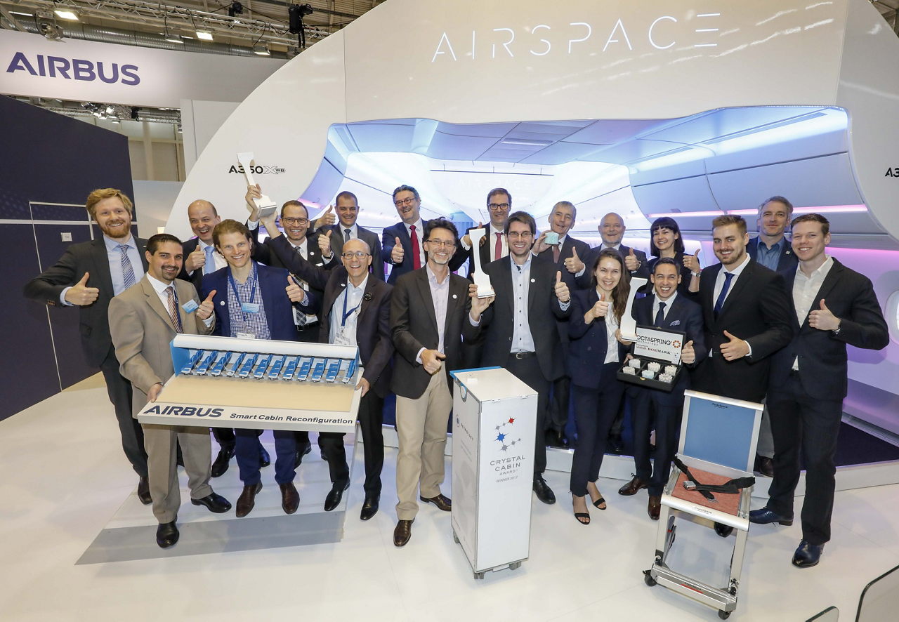"Airbus won the Crystal Cabin Award in two categories at Aircraft Interiors Expo 2017. The winning projects are the ""ReTrolley"" in the Greener Cabin, Health, Safety and Environment category, and the ""Smart Cabin Reconfiguration"" in the Passenger Comfort Hardware category"