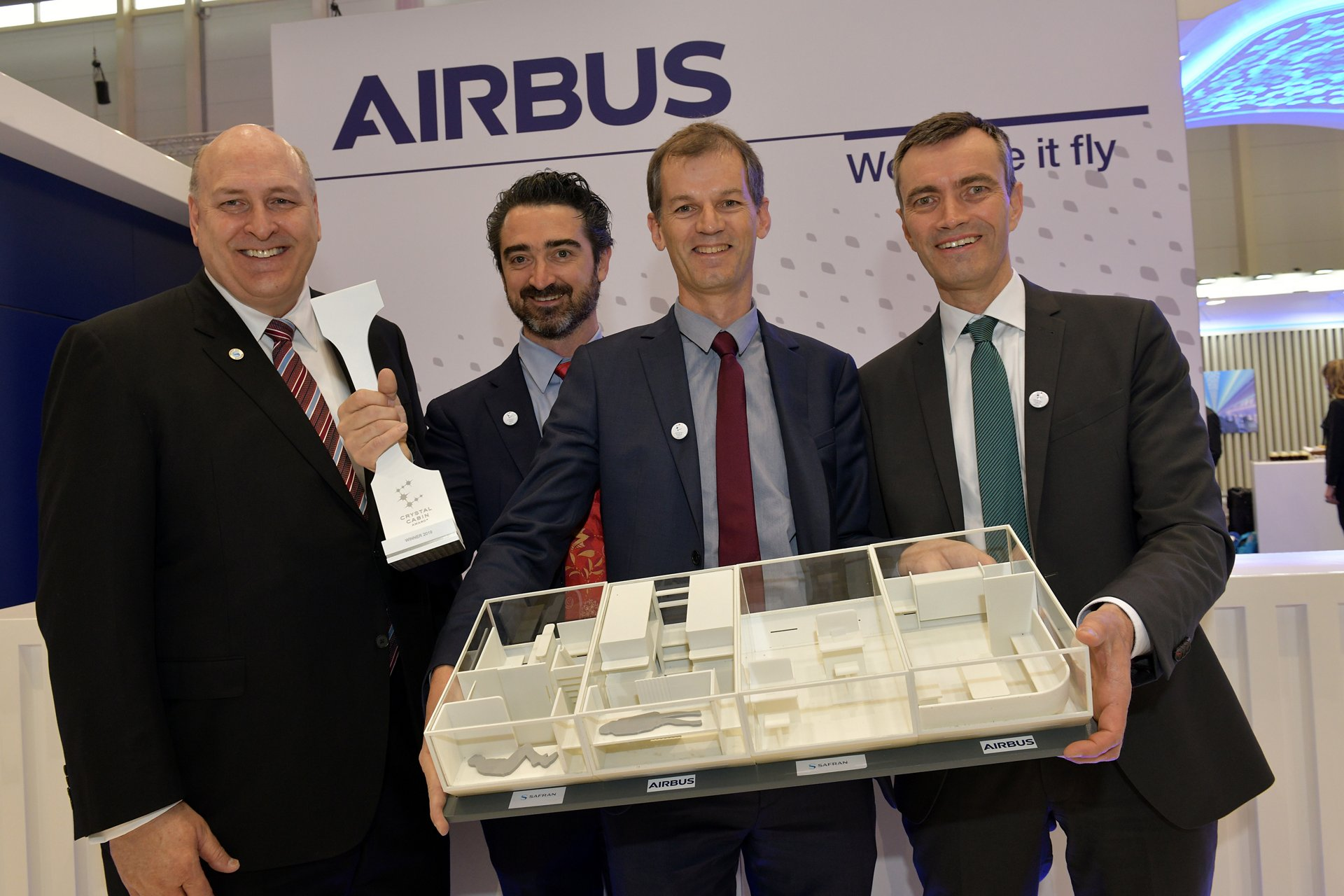 Airbus and Safran won the 2019 Crystal Cabin Award in the Cabin Concepts category during Aircraft Interiors Expo; present at the event were: Norman Jordan, CEO of Safran Cabin; Sebastien Sivignon, Innovation Project Director, Safran Innovation; Frederic Mazel, Cabin Product Director, Airbus; Sören Scholz, SVP Cabin & Cargo Programme, Airbus