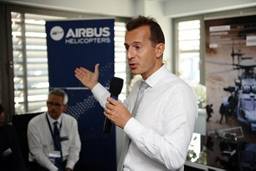 Guillaume Faury on the Airbus Helicopters booth at MSPO in Kielce, Poland
