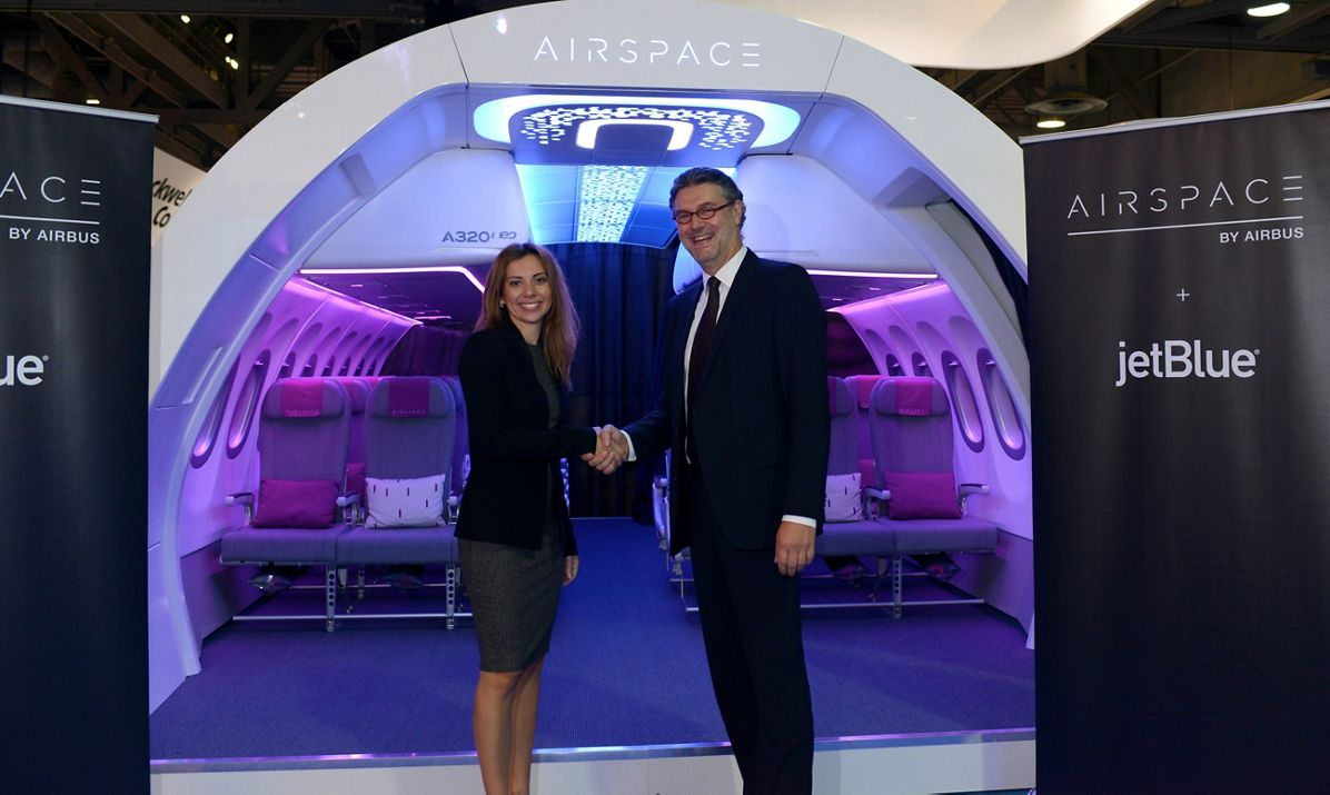 JetBlue is unveiled at APEX Expo 2017 as the launch airline for Airbus' A320 Family Airspace cabin