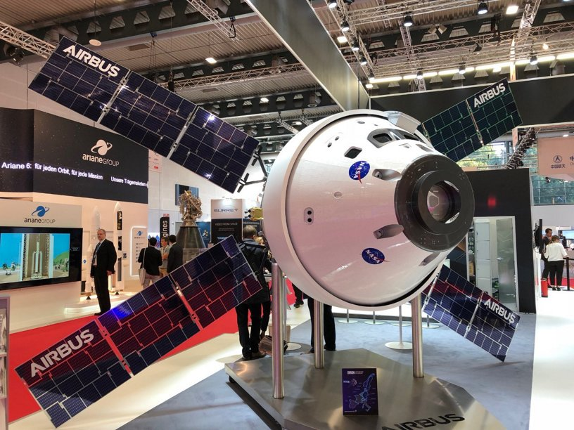 Airbus-built Orion ESM exhibited for the 69th International Astronautical Congress