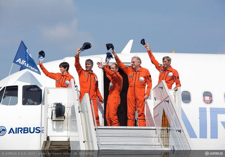 A320neo first flight crew after landing