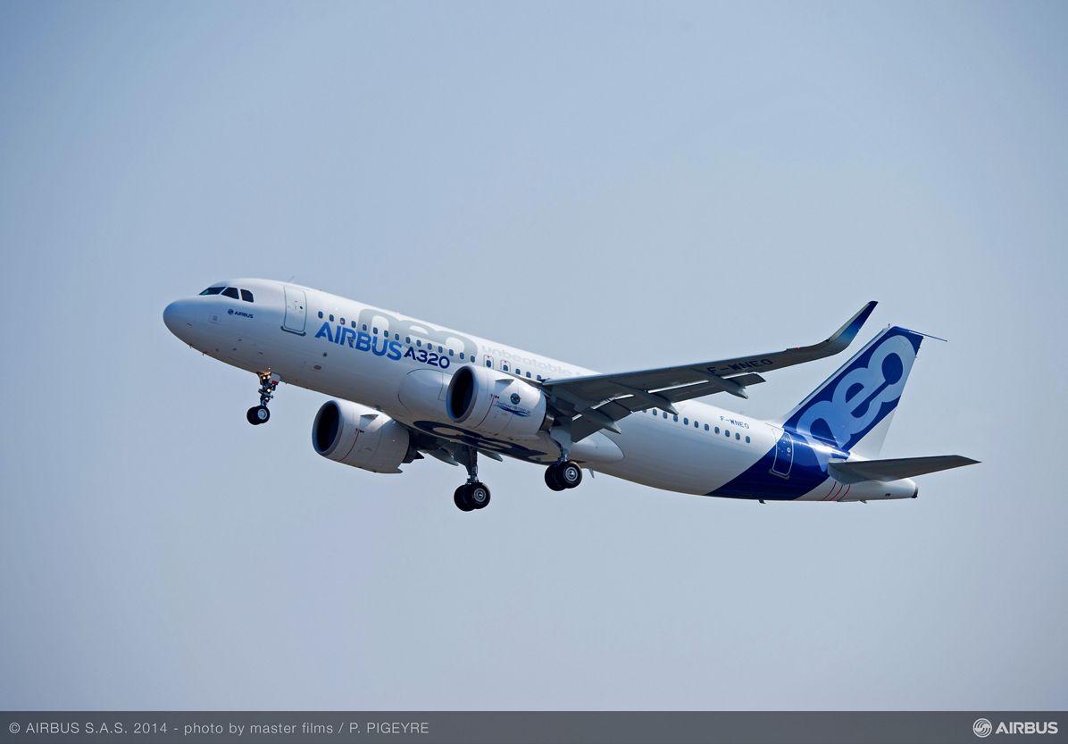 A320neo first flight takeoff