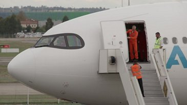 A330-800 First Flight Crew After Landing Broll