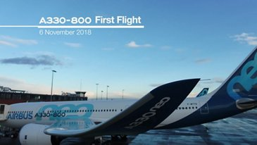 AG真人计划 A330-800 performs its first flight
