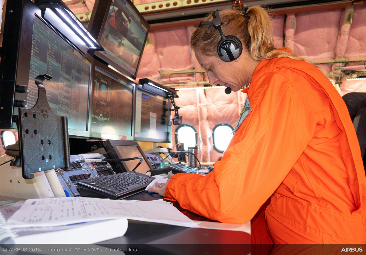 Catherine Schneider was the Airbus Flight Test Engineer for the A330-800's first flight, monitoring the aircraft systems and performance in real-time at the flight-test-engineer's (FTE) station