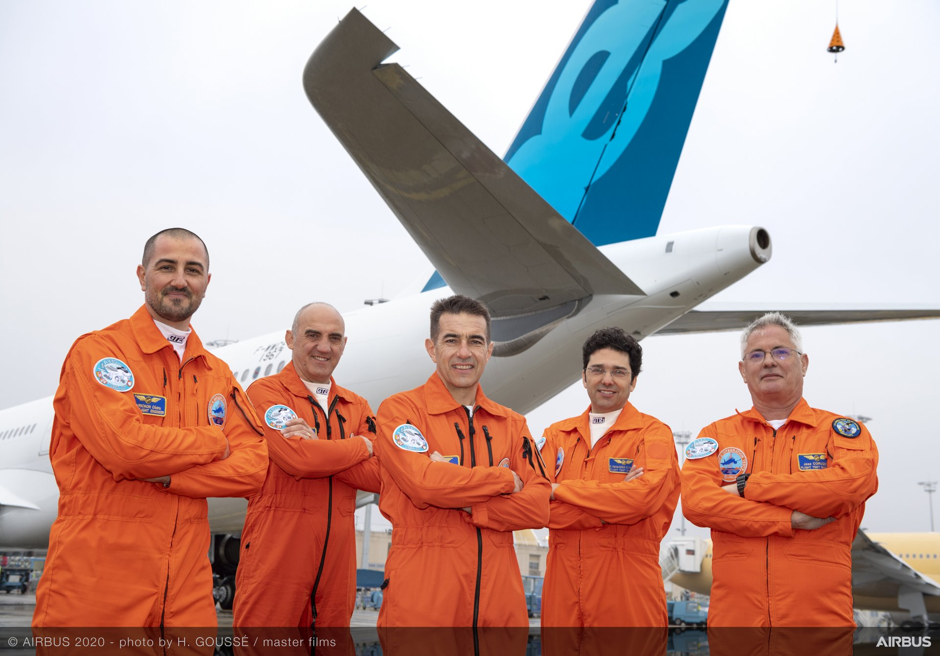 On board the maiden flight of Airbus' new A330neo increased take-off weight variant were experimental test pilots Bernardo Saez-Benito Hernandez and Yann Beaufils, along with flight test engineers Jose Angel Corugedo Bermejo and Emiliano Requena Esteban, and test flight engineer Cédric Favrichon