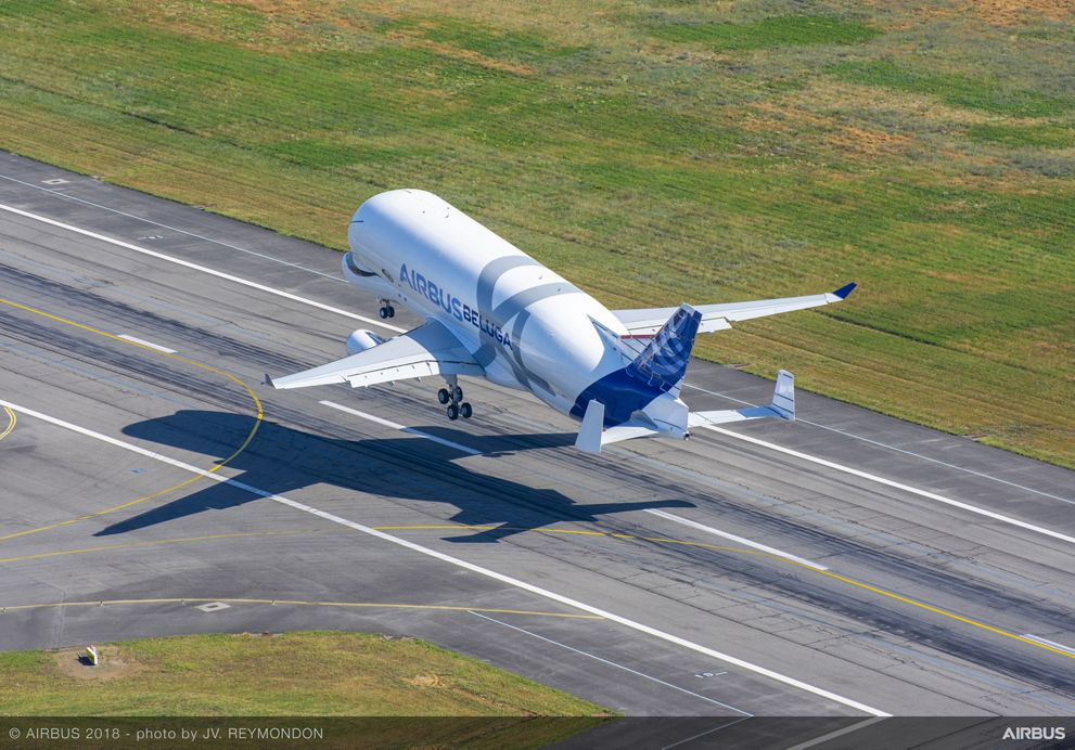 BelugaXL First Flight Take Off Aerial View
