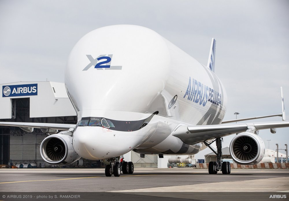 A head-on view of an on-ground BelugaXL airlifter, which received its Type Certificate from the European Union Aviation Safety Agency (EASA) in 2019.