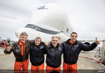 Flight crew celebrates maiden flight of no. 2 BelugaXL