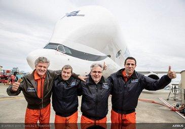 Flight crew celebrates maiden flight of no. 2 BelugaXL