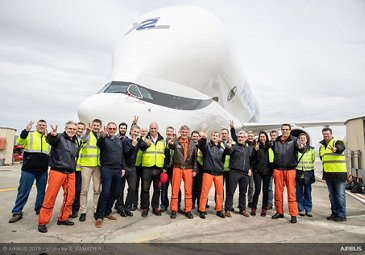 Maiden flight of Airbus' no. 2 BelugaXL – flight crew and workers