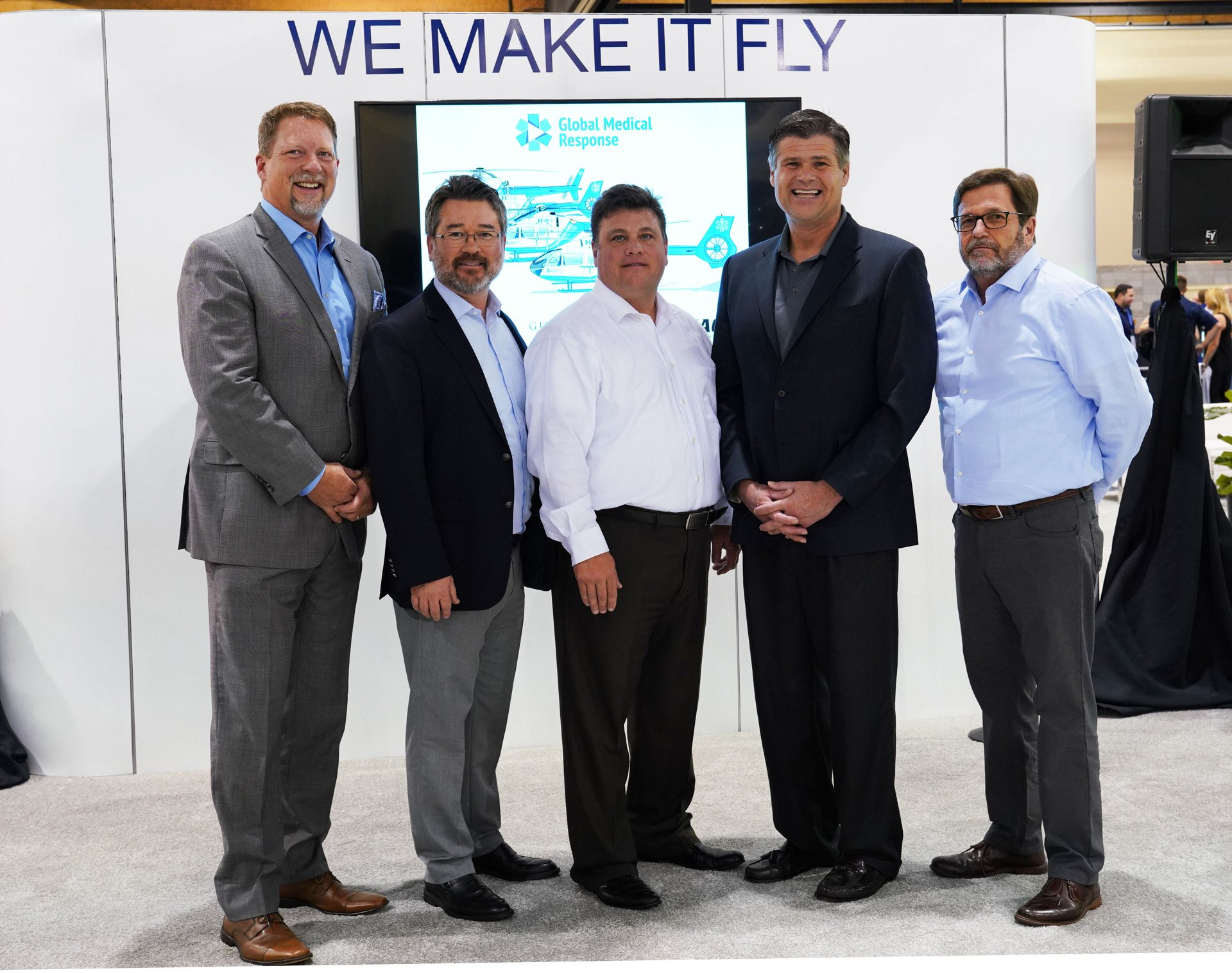Airbus Helicopters Inc. President and Head of North America Region; Sean Russell, REACH President; Fred Buttrell, AMGH President and CEO; and John Byus, Airbus Helicopters Inc. Key Account Manager.