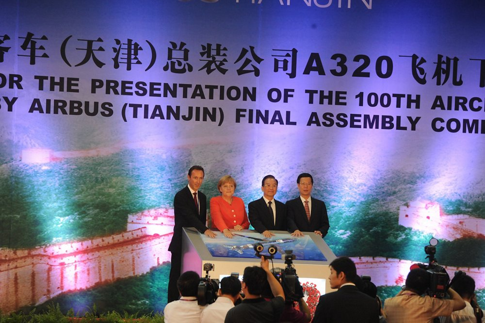 Airbus' A320 Family final assembly line in Tianjin, China celebrated completion of its 100th aircraft during a 2012 ceremony presided over by Chinese Premier Wen Jiabao and German Chancellor Angela Merkel.