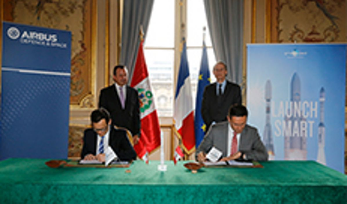 Signature in Paris of the launch services contract with Arianespace for PerùSAT-1 satellite, built by Airbus