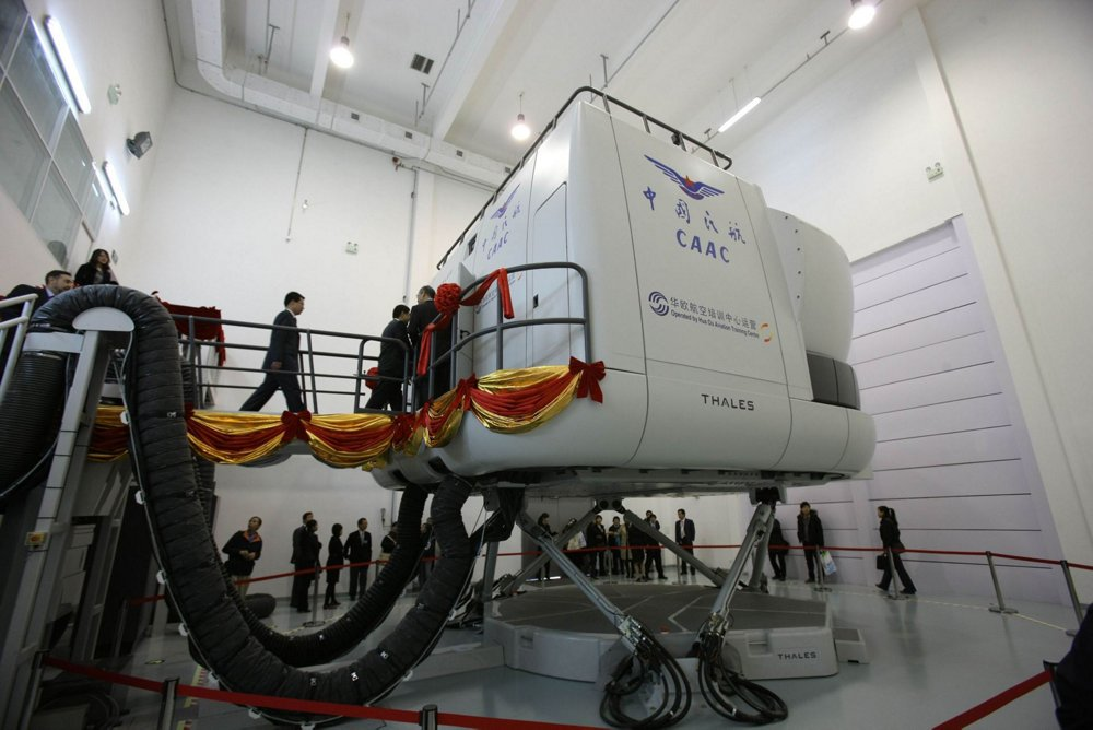 One of the full flight simulators at the Airbus training centre in Beijing, China.