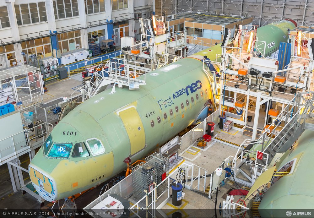 Fuselage sections for Airbus' first A320neo are integrated at the A320 final assembly line in Toulouse, France