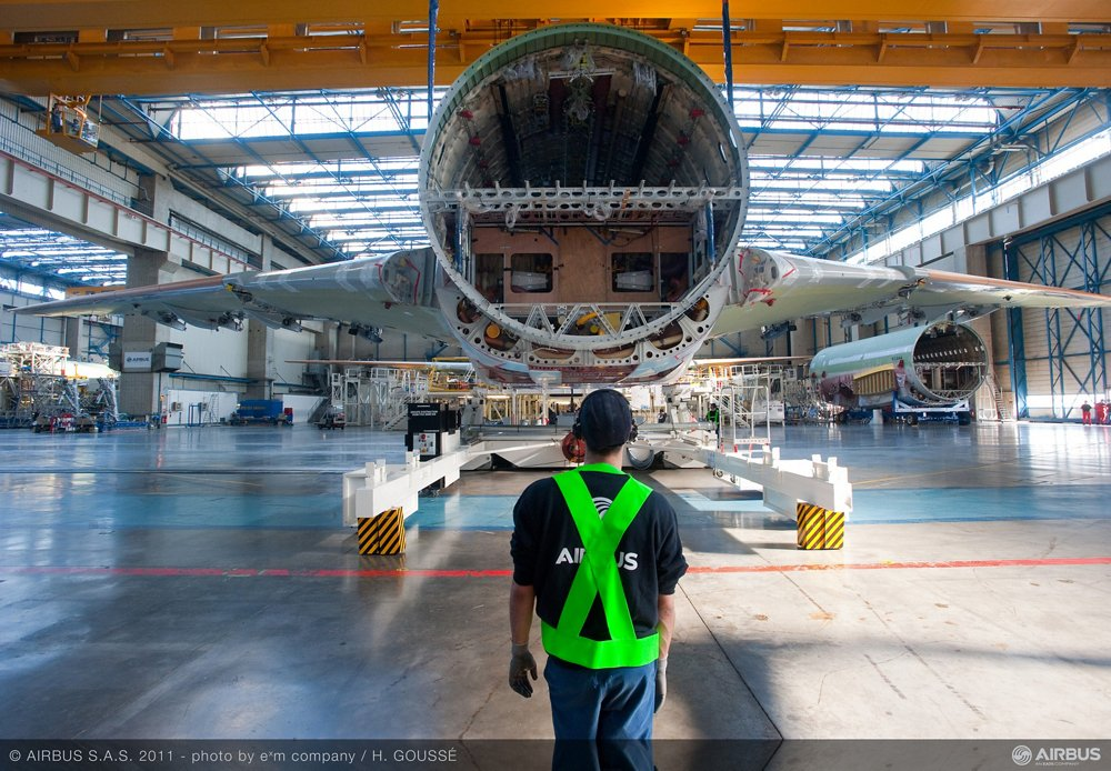 An Airbus A330 commercial aircraft is shown during its production at the final assembly line in Toulouse, France.