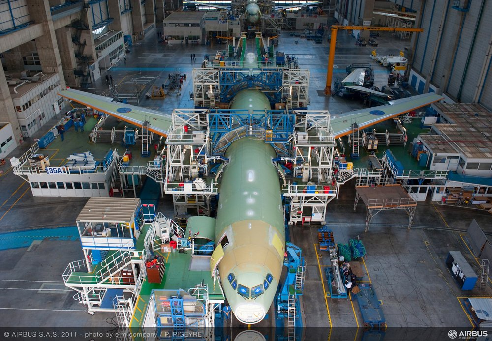 An A330 on the final assembly line, where the production output reached a rate of 10 per month in 2013.