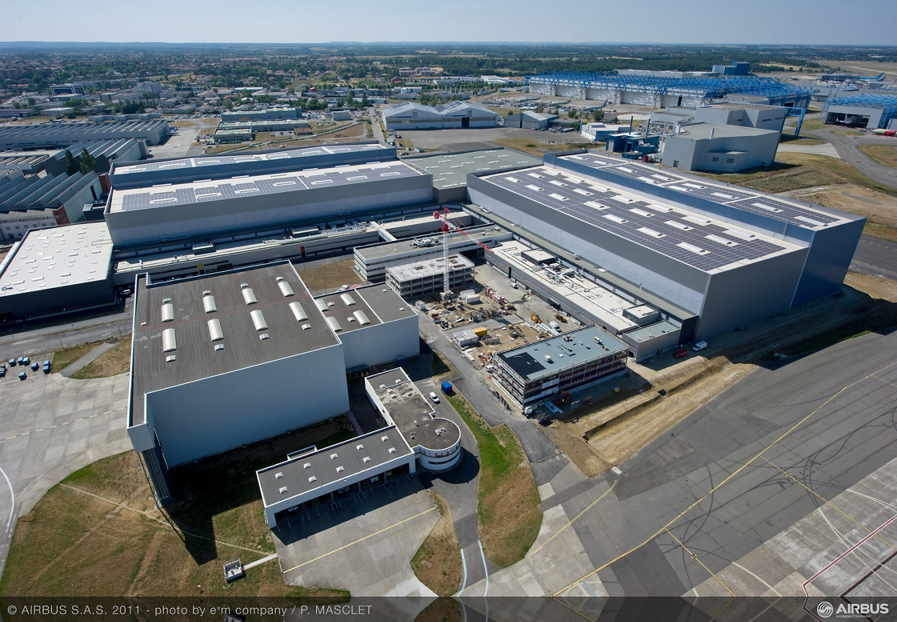 Aerial view of the A350 XWB Final Assembly Line in Toulouse, France