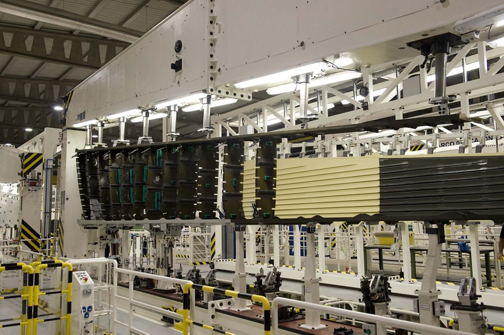 A view of production activity inside Airbus' Puerto Real facility in the south of Spain