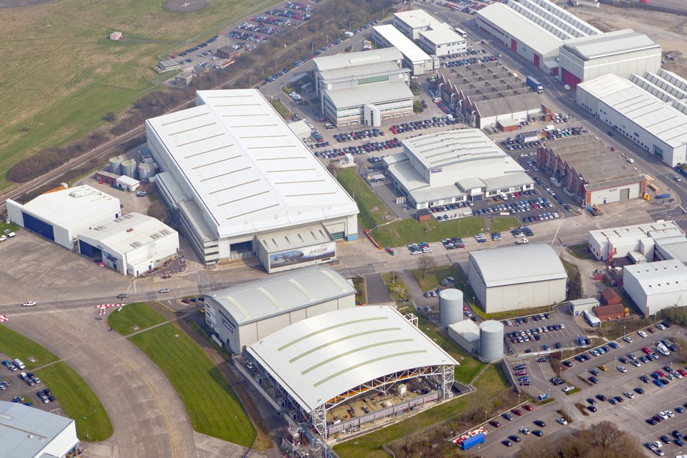 An aerial view of Airbus' design, engineering and support operation in Filton, UK
