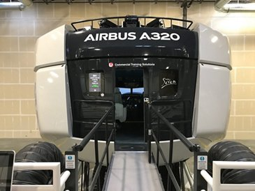 The A320neo full flight simulator at the Airbus Training Center in Denver