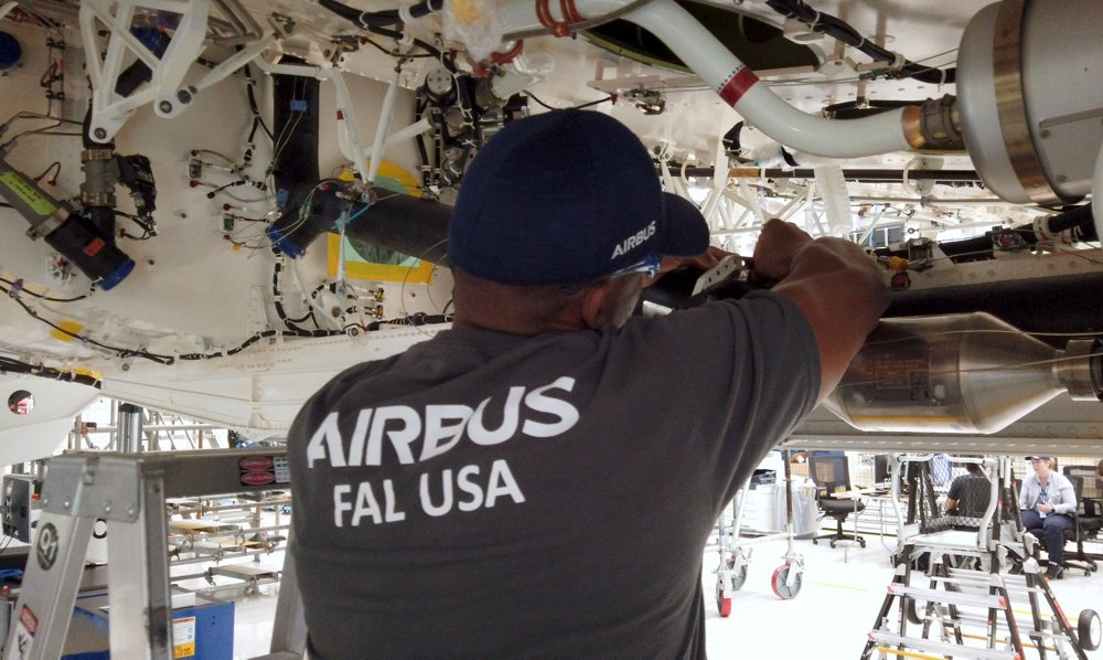 Rear view of an employee working at Airbus' U.S. final assembly line (FAL) in Mobile, Alabama.