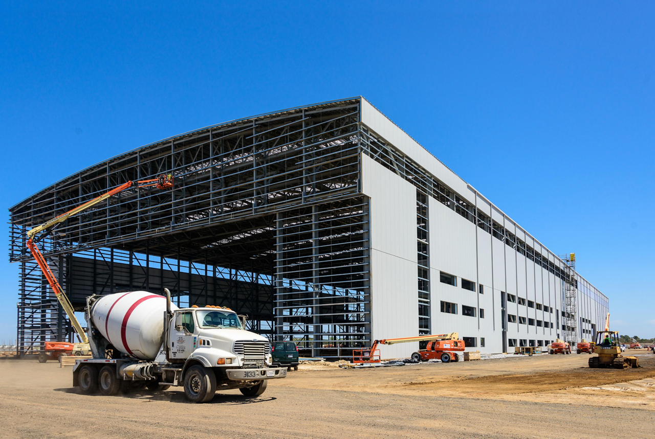 One year after the ground-breaking ceremony for Airbus' U.S. A320 Family Assembly Line, the main buildings are taking shape in Mobile, Alabama