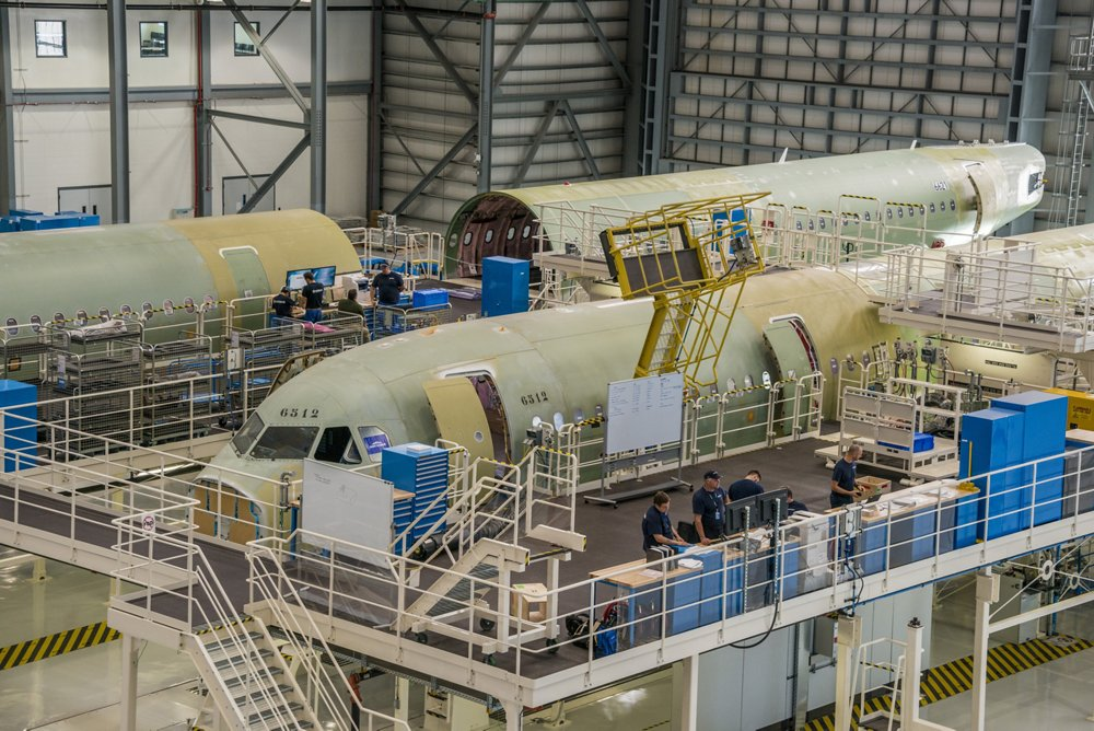 A320 aircraft are assembled at Airbus' final assembly line in Mobile, Alabama, USA.