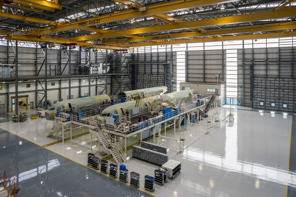 A320 aircraft are assembled at Airbus' final assembly line in Mobile, Alabama, USA