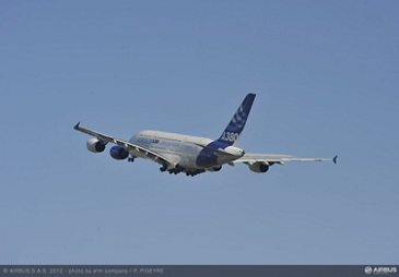 A350 Trent XWB engine first flight on A380 after take off